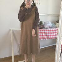 秋冬女装韩版学院风半高领长袖毛衣+宽松中长款毛线背心裙两件套
