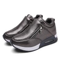 波踏2016闲学生运动鞋冬季加绒小码内增高女鞋气垫拉链单鞋黑色百搭显瘦休YC-598