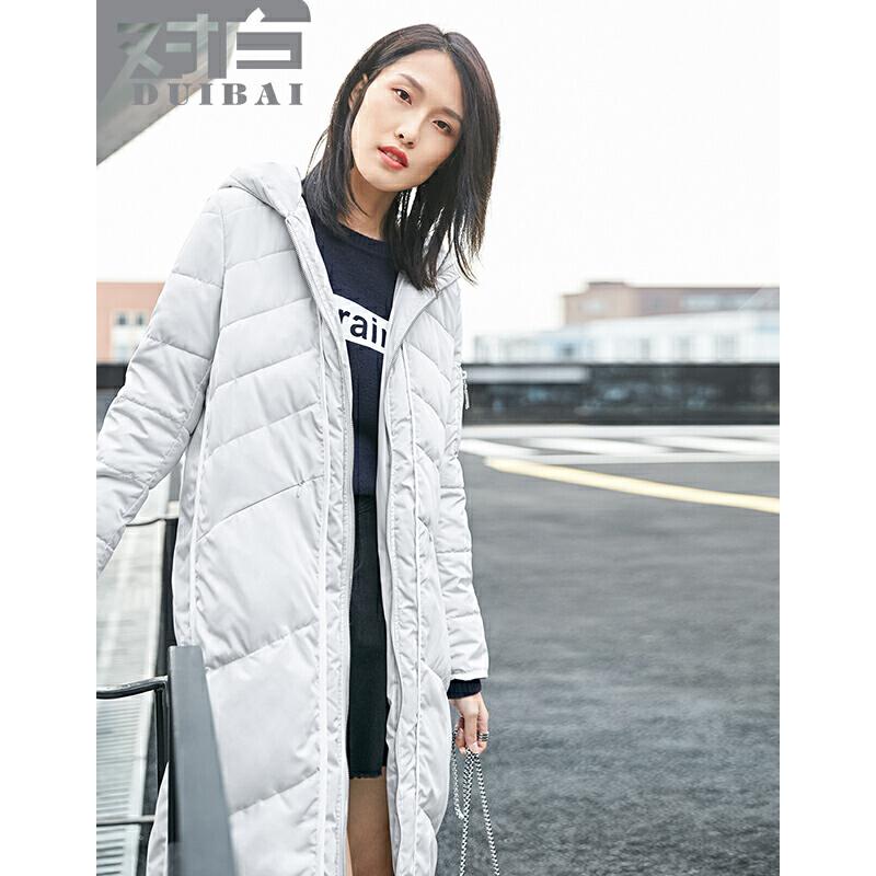 对白连帽棉衣女中长款2017冬新款外套直筒保暖