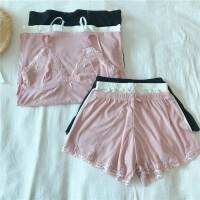 春季女士甜美可爱家居内衣套装韩版纯色吊带背心+短裤睡衣两件套