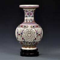 客厅双层青花粉彩镂空瓶 陶瓷花瓶瓷器 古典工艺品中式摆件