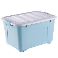 塑料收纳箱 特大号整理箱有盖滑轮衣服棉被储物箱子玩具桌面收纳盒 +170L