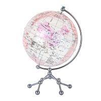 博目20cm中英文政区中国芯地球仪(水晶粉)透明地球仪+中国地图地形图