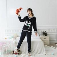 韩版珊瑚绒睡衣女冬季甜美可爱保暖加厚法兰绒运动休闲家居服套装