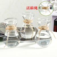 【品牌热卖】玻璃花瓶透明水培植物绿萝风信子花瓶办公室内桌面简约创意插花瓶 三个瓶子不含植物(送麻绳) 中等