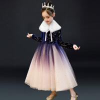 女童连衣裙秋冬圣诞元旦演出服加绒裙子洋气冬裙儿童礼服公主裙
