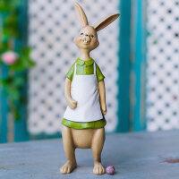 兔子一家四口家里装饰品客厅酒柜摆件 室内创意家居饰品树脂摆设
