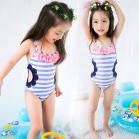 儿童泳衣女孩小童1-6岁女童 儿童泳装连体泳衣女宝宝泳衣游泳衣 条纹镂空连体泳衣