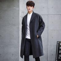 毛呢大衣男韩版中长款青年秋冬季男士风衣修身潮流过膝妮子外套帅