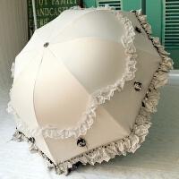 太阳伞防晒防紫外线蕾丝花边女神韩版公主洋伞遮阳黑胶晴雨伞两用