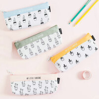 仙人掌倒梯形笔袋小清新可爱帆布文具盒简约创意学生铅笔袋