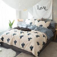 清新简约棉夏季棉四件套1.8/2.0m床上用品三件套床笠床单被套