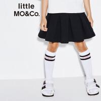 【折后价:140.7】littlemoco春季新品女童短裙自然剪边裙摆百褶纯色半身裙