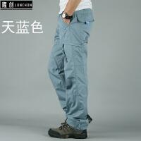 秋季男装多口袋工装裤男长裤多功能宽松户外男士休闲裤新款棉裤子
