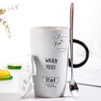 送老婆送女友送同学送情人可爱卡通陶瓷马克杯男女生韩国喝水杯大容量带盖勺创意早餐牛奶杯