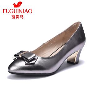 富贵鸟浅口单鞋女中跟粗跟女鞋蝴蝶结通勤工作鞋