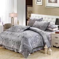 床罩床裙款四件套纯棉 1.8m床/1.5米床群条纹卡通式床上4件套 灰色 布拉格灰