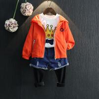 男女童外套2018春装新款中小童小恶魔宽肩蝙蝠袖连帽冲锋衣夹克衫