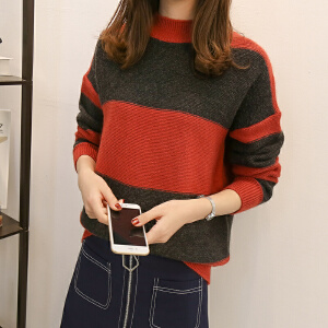 新款韩版短款拼接色针织衫版高领学生风时尚百搭显瘦套头毛衣潮女