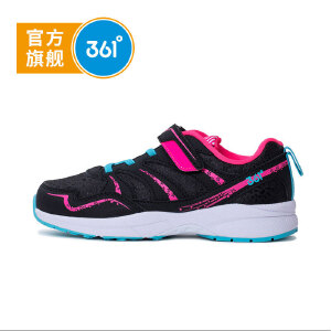 361度童鞋 女童鞋女童校园鞋儿童运动鞋K817493 黑色 荧光粉