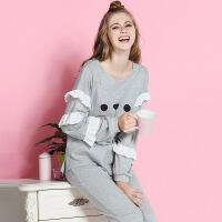 秋冬款月子服纯棉哺乳孕妇家居服哺乳睡衣套装新款产后喂奶衣 YF687飞袖猫哺乳套装