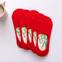 红袜子本命年袜子纯红船袜男女结婚用全棉浅口硅胶隐形袜 男款浅口隐形袜 5双装 均码
