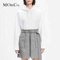 MOCO2019春季新品图案印花抽绳连帽卫衣MAI1SWS004 摩安珂