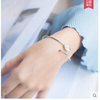 925银手镯女森系珠叶子手环女气质甜美树叶手镯天然淡水珍可礼品卡支付
