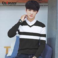 V领毛衣男士套头针织衫青年学生潮拼色线衣韩版修身时尚帅气秋季