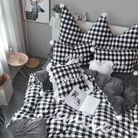 四件套冬季珊瑚绒公主风水晶绒床裙加厚法兰绒床单床上法莱绒格子 黑格子 床裙式