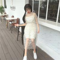 清新文艺刺绣花朵蕾丝网纱连衣裙两件套吊带裙
