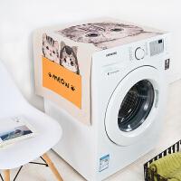 洗衣机罩 卡通多用棉麻盖布滚筒洗衣机罩床头柜盖布防晒罩冰箱布艺防尘罩 140cm*55cm
