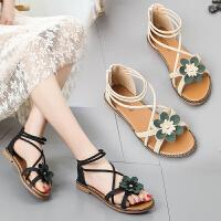 百搭凉鞋女鞋平底鞋沙滩鞋夏季学生罗马鞋时尚