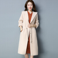 韩版长款女式针织毛衣外套 长毛连帽大码纯色大衣 带口袋开衫