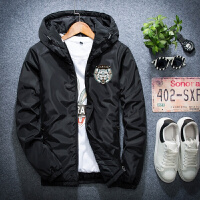 秋冬季薄棉衣男连帽修身加大码青年学生保暖外套棉袄夹克 黑色