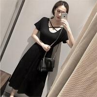 2018夏季新款黑色沙滩裙子长款背后交叉收腰小黑裙短袖连衣裙女装