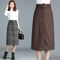 秋冬装新款女装半身裙中年女士高腰显瘦A字裙格纹腰带百搭中长裙