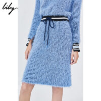 Lily2019冬新款女装温柔羽毛纱撞色螺纹修身横机铅笔半身裙6935