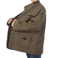 中老年春装立领夹克衫男加肥加大上衣中年男士宽松男装外套爸爸装