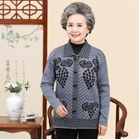 秋冬中老年女装上衣外套宽松大码妈妈装翻领羊毛衫奶奶装针织开衫