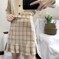2017秋冬新款高腰裙子显瘦百搭学生格子半身裙荷叶边包臀短裙女装