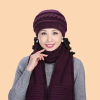 针织毛线帽老人帽子女奶奶保暖中老年人帽子女冬季妈妈帽围巾棉帽