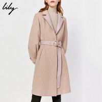 【秋冬清仓特惠价:879元】 Lily冬新款女装设计感拼接绒感羊毛大衣收腰系带毛呢外套1984