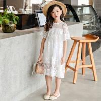 女童连衣裙夏季短袖小女孩蕾丝公主中大儿童裙