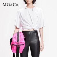 MOCO2019春季新品圆领挖肩破洞印花T恤MAI1TEE002 摩安珂