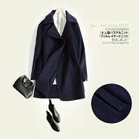 2017秋冬季新款反季双面羊绒呢子大衣女韩版矮个子羊毛呢外套短款 幽怨藏青 限购一件