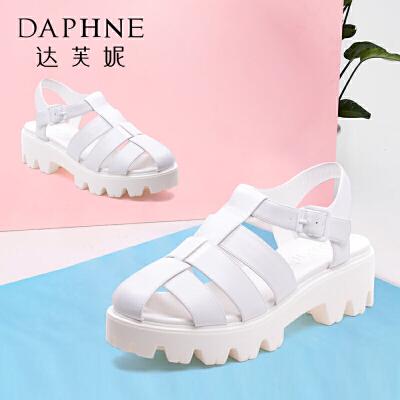 Daphne/达芙妮女鞋夏季新款凉鞋包头侧空中跟露趾凉靴