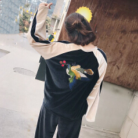 休闲运动套装女秋季新款韩版刺绣撞色上衣+松紧腰长裤两件套学生