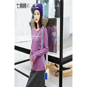 七格格复古港味t恤ins上衣新款女装春装韩版时尚长款字母打底小衫女