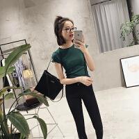 韩国夏季新款木耳边显瘦修身墨绿色短袖T恤衫紧身打底衫上衣